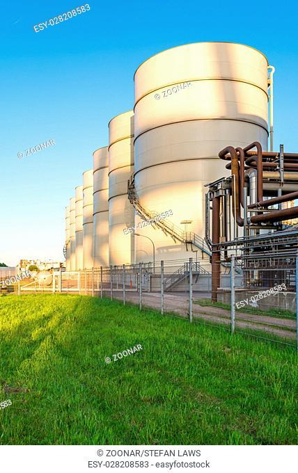 Hamburg, Germany. Storage tanks of an oil mill