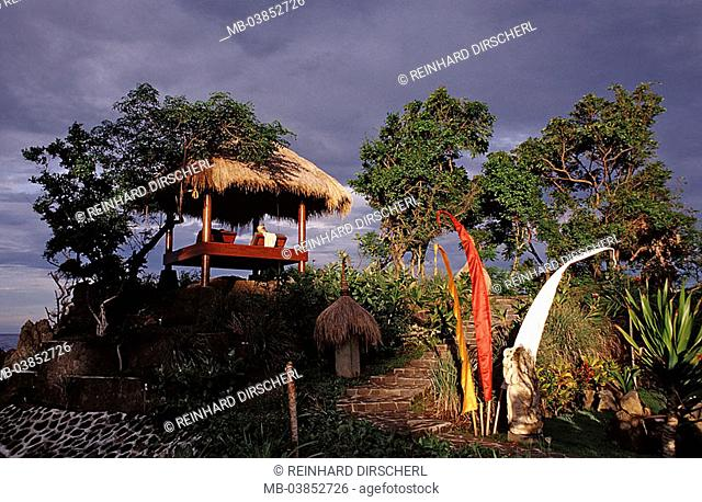 Indonesia, island Bali, Alam Batu department, hotel-installation, beach, deck chairs, thatch, little one Sundainsel, coast, park, park, pavilion, symbol