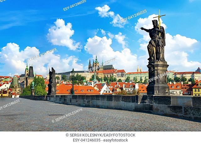 View on St Vitus Cathedral from Charles Bridge in Prague
