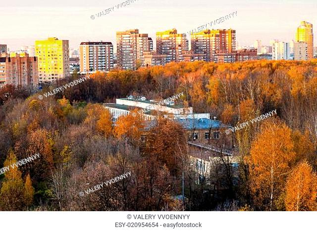 urban residential district in pink autumn sunset