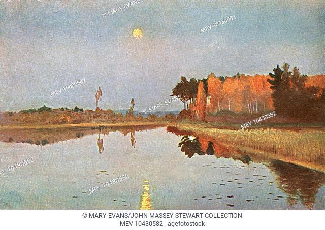A painting entitled The Twilight Moon, depicting a country scene in Russia