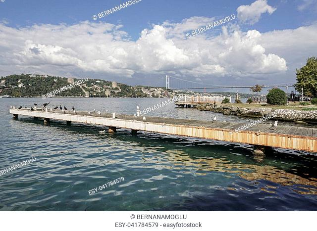 Rumeli Fortress and 2nd Bosphorus Bridge view from Asian side of Istanbul in Turkey in a sunny day