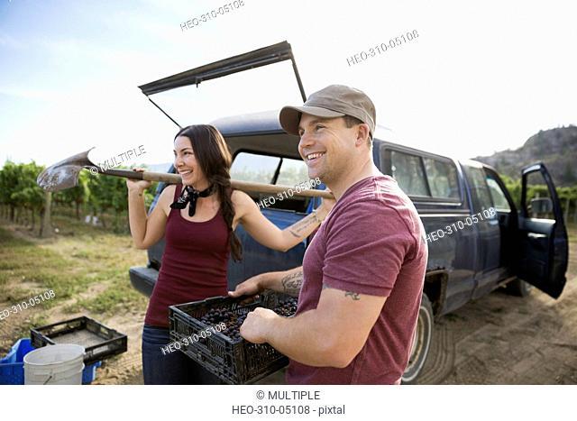 Smiling workers harvesting grapes at truck in vineyard