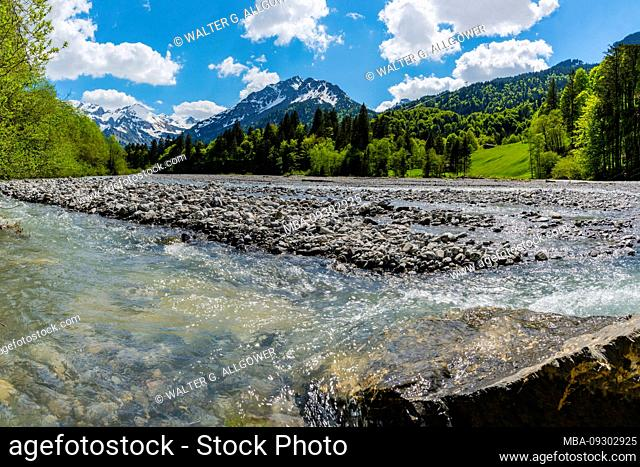 Stillach, Stillachtal near Oberstdorf, Allgäu Alps, Allgäu, Bavaria, Germany, Europe