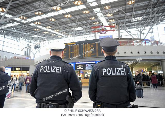 Federal police officers on patrol at the airport in Stuttgart, Germany, 23 March 2016. Police presence has been increased following the terrorist attacks in...