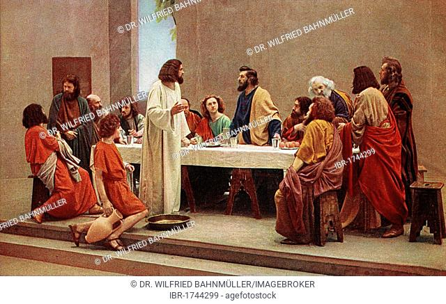 Last Supper, colour post card from a Uvatypie template, Oberammergau Passion Play 1930, Upper Bavaria, Bavaria, Germany, Europe