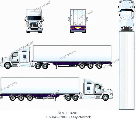 Vector truck template isolated on white. Available EPS-10 separated by groups and layers for easy edit