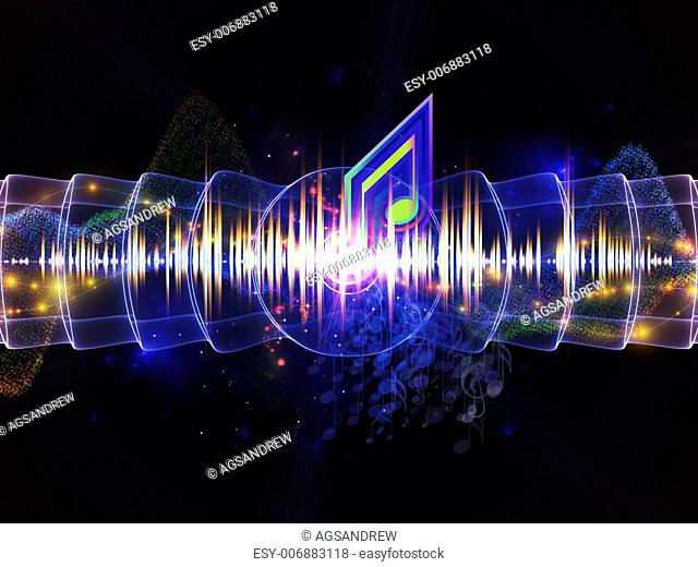 Design composed of musical notes, lights, wave and sine patterns as a metaphor on the subject of music, sound processing, audio performance and entertainment