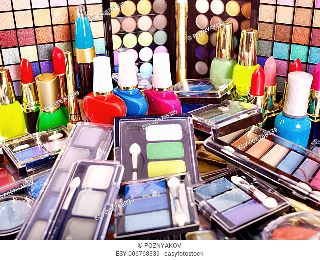Decorative cosmetics for makeup. Close up
