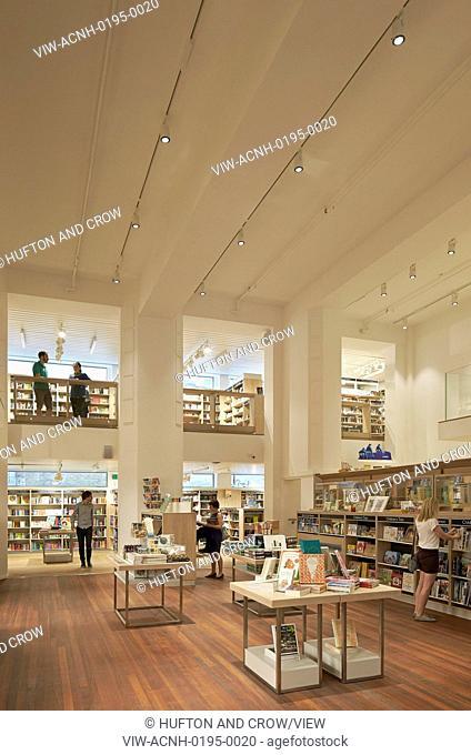 Multi-level view of book display and interior balcony gallery. Foyles, London, United Kingdom. Architect: Lifschutz, 2014