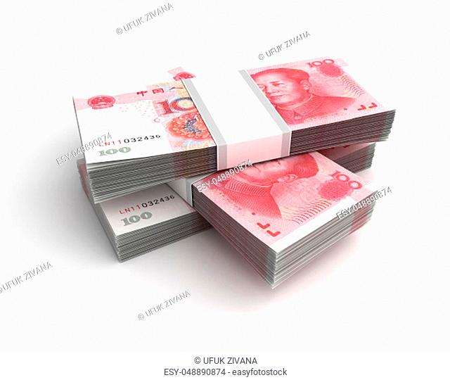 Stack of Chinese Yuan (Isolated on white background)