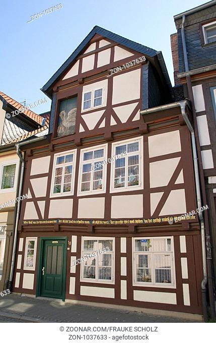 Deutschland, Niedersachsen, Peine, Eulenstadt, Pelikanhaus, 1611, aeltestes erhaltenes Wohnhaus