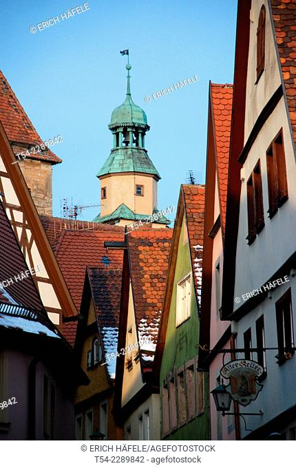 Watch on a Tower at Rothenburg ob der Tauber in Germany