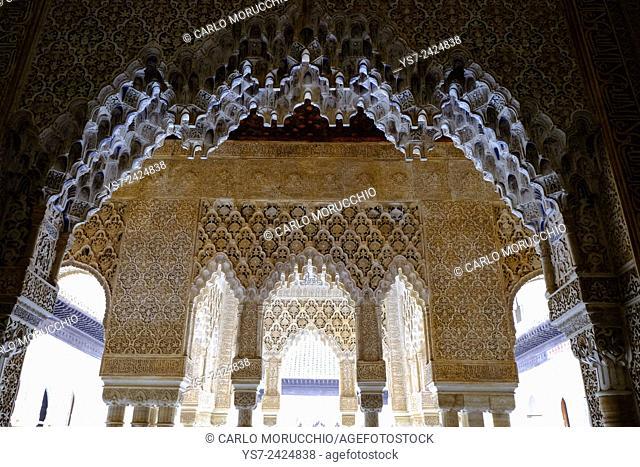 Palace of the Lions, Palacio de los Leones, The Alhambra, Granada, Andalusia, Spain