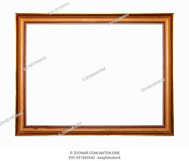 Simple vintage old wooden classic golden painted horizontal rectangular frame for picture or photo, isolated on white background, close up