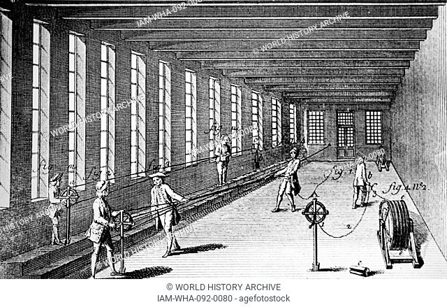 Illustration of a rope factory, labourers are shown threading yarns to produce it. Dated between 1751 and 1780