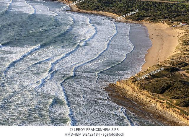 France, Vendee, Jard sur Mer, la Mine beach (aerial view)