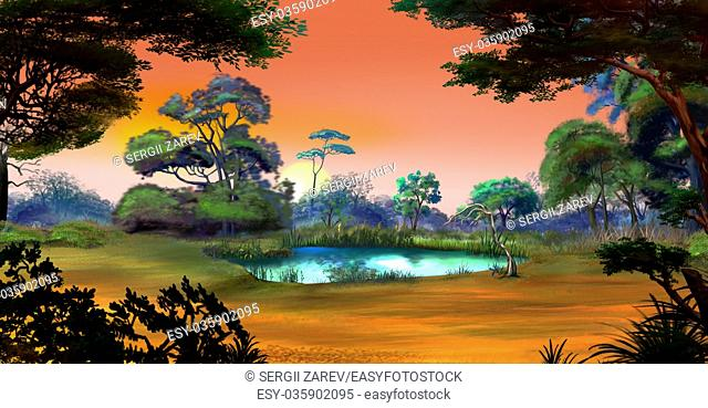 Idyllic View of the Small Pond on a Forest Glade Surrounded by Trees at Dawn. Digital Painting Background, Illustration in cartoon style character