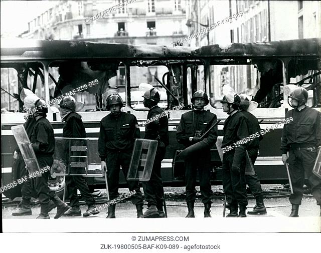 May 05, 1980 - Riots in the streets of Paris: Student rioters aired their grievances by having violent clashes with the police in the University district of...