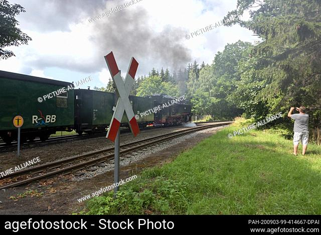 03 August 2020, Mecklenburg-Western Pomerania, Garftitz: A steam locomotive 99 783 is leaving the Garftitz station near the hunting lodge Granitz