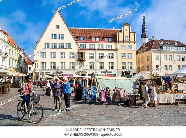 Estonia (Baltic States), Harju region, Tallinn, historical center listed as World Heritage by UNESCO, Town Hall Square