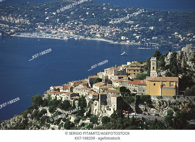 Eze and Cap Ferrat in background. France