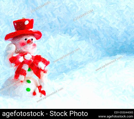 Merry Christmas and Happy New Year Greeting Card with Copy-space, Happy Snowman Standing in Winter Christmas Landscape, Christmas Snow Background