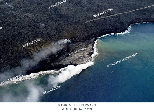 USA, Hawaii, Big Island, Hawai'i Volcanoes National Park, flow of lava, aerial view
