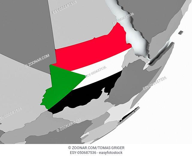 Sudan on political globe with flag. 3D illustration