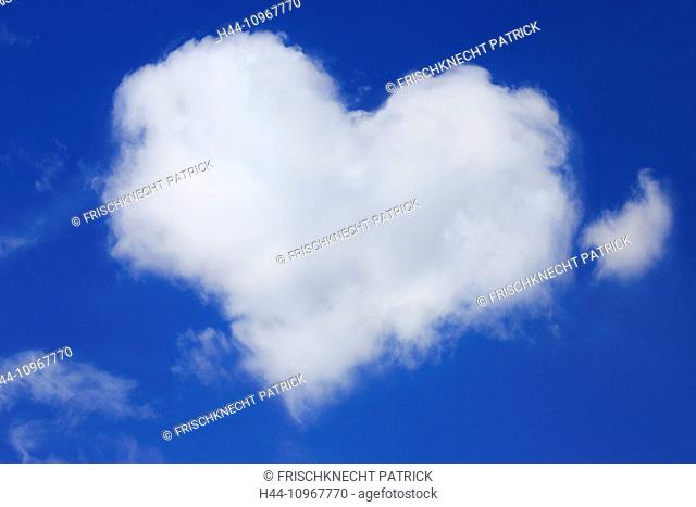 Heart, heart form, sky, love, air, nature, phenomenon, Valentine, width, broadness, weather, wind, clouds, cloud heart, blue, blue sky, heart-shaped, in love