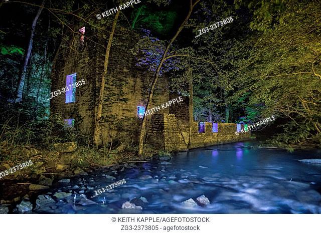 Light Painting and Night photography of John Blanchard's Mill ruins in Blanchard Springs Arkansas
