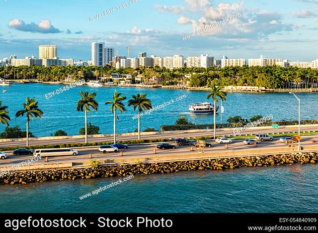 Miami, FL, United States - April 20, 2019: MacArthur Causeway at Biscayne Bay in Miami, Florida, USA. The MacArthur Causeway is a colossal six-lane engineering...