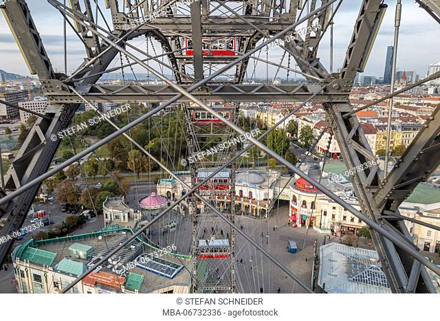 view from the big wheel to the fairground of the Viennese Prater