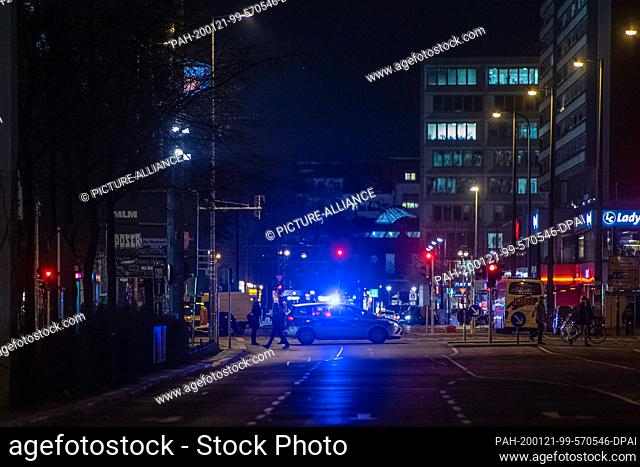 21 January 2020, Berlin: A police car is blocking Spandauer Strasse. A German World War II bomb with a Russian detonator was found during construction work in...
