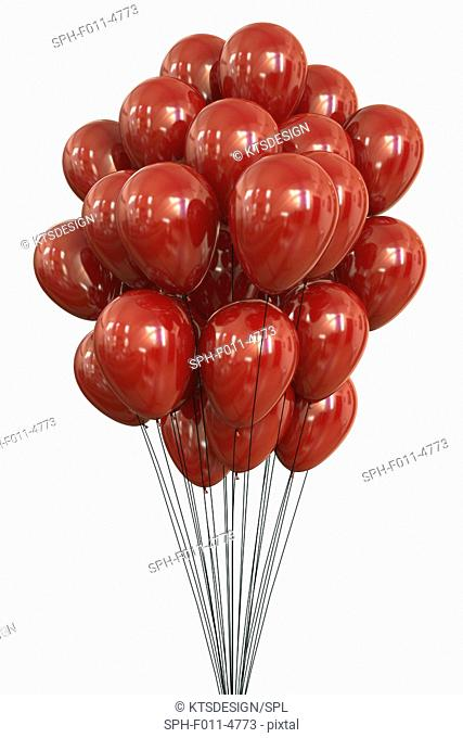 Red balloons against a white background, computer illustration