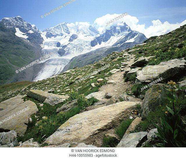 10055983, Switzerland, Europe, Graubünden, Grisons, mountain panorama, Alps, mountains, Engadine, stone, scenery, Piz Bernina