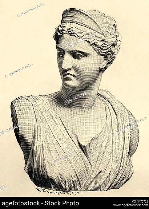 Artemis or Diana of Versailles, the goddess of the hunt. Greece ancient history. Old engraving illustration from the book Universal history by Oscar Jager 1890
