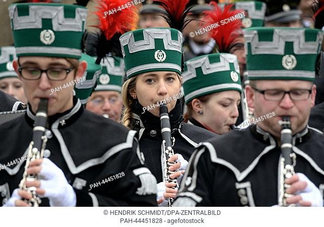 The Saxony State Miners' Corps band .takes part in the first Miners' Parade in Chemnitz,Germany, 30 November 2013. More than 650 people in traditional costume...