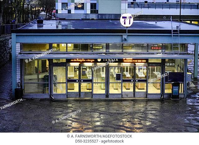 Stockholm, Sweden The Tensta tunnelbana station and the the Tensta Torn, or Tensta Tower, in the immigrant suburb of Tensta
