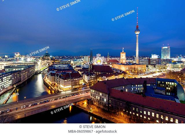 View over the town, Berlin at the blue hour