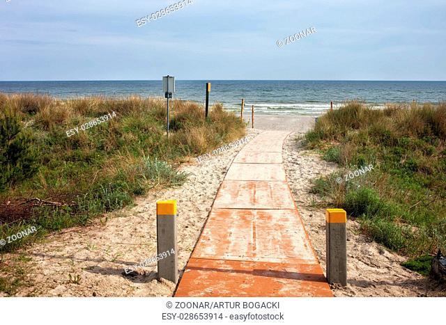 Boardwalk to the Beach at Baltic Sea in Jastarnia