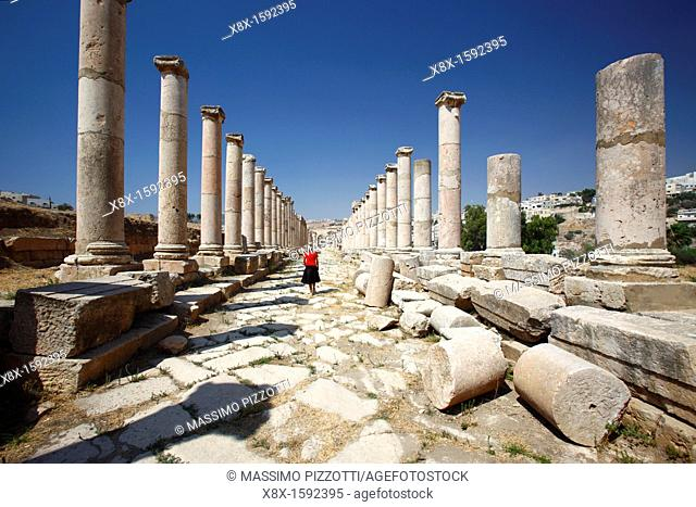 The Colonnaded street at the North Tetrapylon, Jerash Jordan