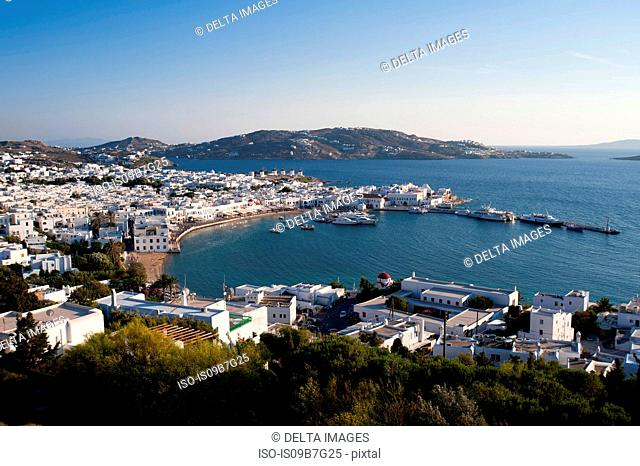 Aerial view of town and pier, Mykonos Town, Cyclades, Greece