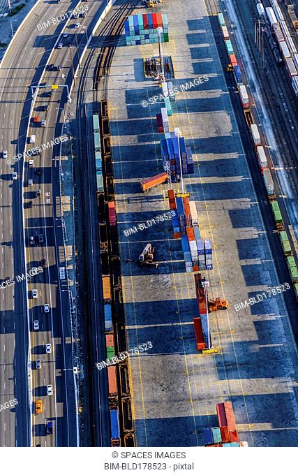 Aerial view of shipping yard and freeway
