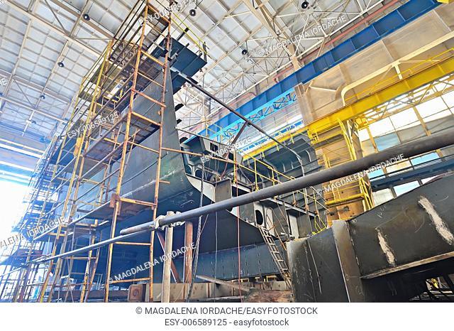 Ship building in a shipyard