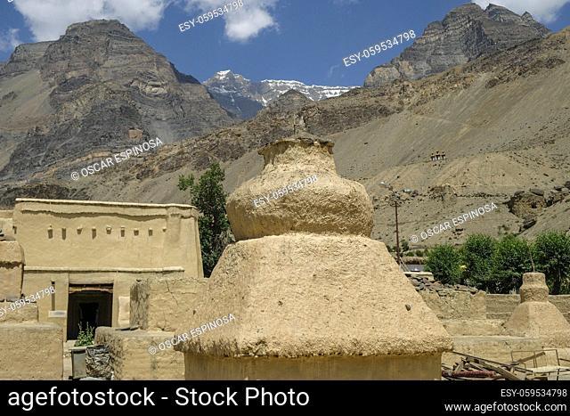 Tabo, India: Views of the Tabo Monastery in Tabo village in Spiti valley, Himachal Pradesh, India