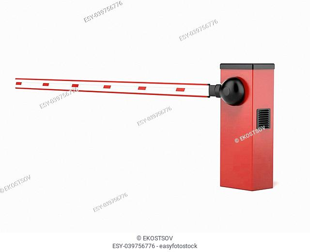 Barrier Gate isolated on a white background. 3d render