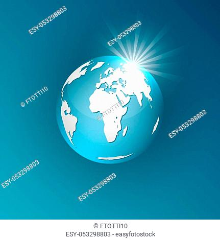 Planet earth on a blue background. Vector illustration