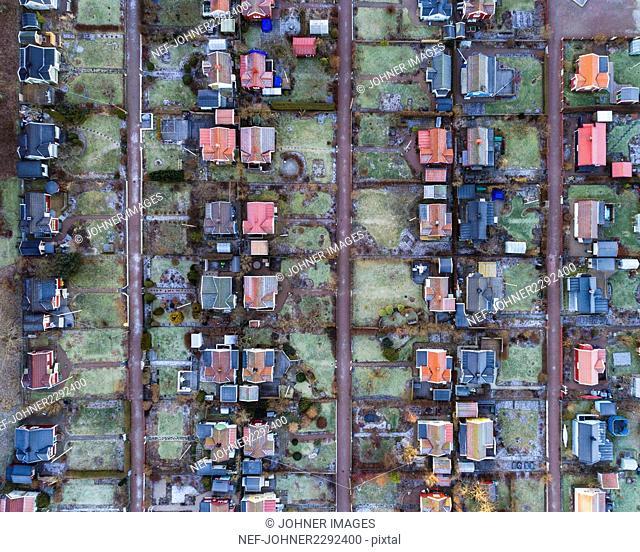 Aerial view of suburban area