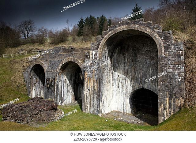 Furnace remains at Sirhowy Ironworks site, Tredegar, Wales, United Kingdom